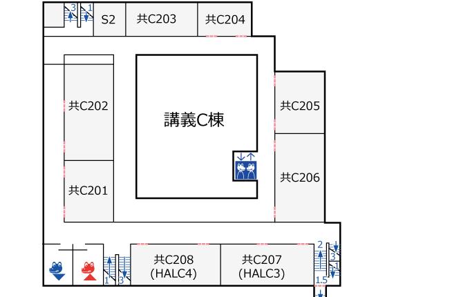 講義C棟2階 フロアマップ