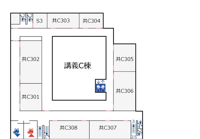 講義C棟3階 フロアマップ